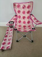 Trespass kids foldable camping festival  chairs & carrier Pink VGC