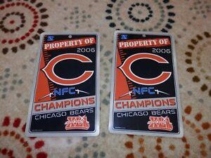 "Chicago Bears Sign lot (2) Property of  12"" x 7"" New & Vtg 2006 Super Bowl XLI"