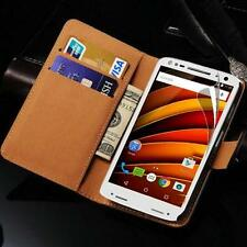 Original De Cuero Real Cartera Soporte Funda Para Motorola Moto X Force & Screen Guard