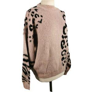 Topshop L 14 16 Dusky Pink Black Animal Print Zebra Leopard Thick Warm Jumper