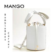 Mango Drum Cylinder Bucket Bag Handle Bow Tote Ltd Ed Shoulder White Handbag