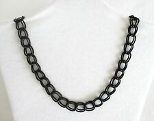 """Black Metal Double Curb Link Chain w Silver Plated Clasp 18½"""" Long Choker.  NWT"""
