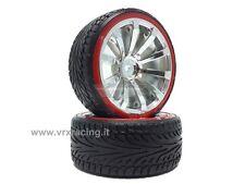 010A002B Coppia ruote complete di inserto 1/10 drift cerchio cromato argento VRX
