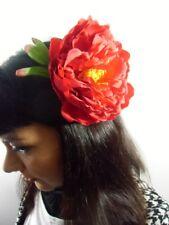 Grosse pince cheveux fleur pivoine rouge pinup rétro rockabilly sexy glamour