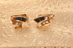 Vintage Designer Signed 14K Gold Australian Opal & Diamond Omega Back Earrings