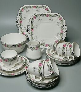 Antique SHELLEY c.1920 PINK ROSE AND BRIAR 22pc teaset (11165) NEW YORK shape