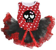 Cute Skull Polka Dots Cotton Top Black Red Lace Tutu Pet Dog Puppy Dress