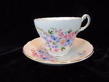 Vintage Regency Teacup and Saucer Bone China White Pink Blue Spring Flowers