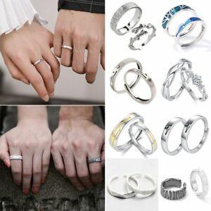 925 Silver 2Pcs Sun Moon Love Couples Rings Promise Weddings Jewelry Women Men