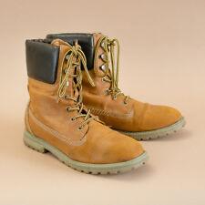 Vintage 90's Women's Tan Laced Faux Leather Ankle Boots Uk 8 Eu 42 Us 10