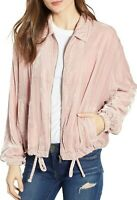 BB Dakota Chillax Velvet Bomber Jacket Mauve Pink Women's Small NWT $118