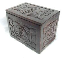 Antique GEORGIAN Oak Primitive Carved Tea Caddy Caddie Key Storage / Trinket Box