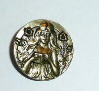 "Large Pan Metal Shank Button 1-1//2/""x2/""  Little Cupid  Antique Silver Clrd Button"