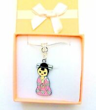 Japanese Kokeshi Kimono Geisha Girl Doll Charm Necklace Bridesmaid JewelleryGift
