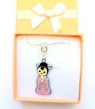 Japonais Kokeshi Kimono Geisha Fille Poupée Charme Collier Demoiselle D'honneur jewellerygift