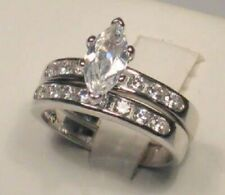 Marquise Solitaire Diamond Engagement Ring Bridal Wedding Set White gold ov
