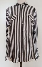 ZARA BASIC Charcoal Grey/Ivory Stripe Shirt Size EUR M