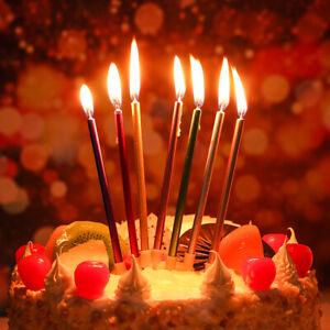 6Pcs Long Pencil Candles Birthday Cake Topper Cupcake Wedding Party Supplies^RZ