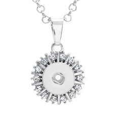 Rhinestone Charm Necklace Jewelry Pendant Fit For Noosa 12MM Snap Button