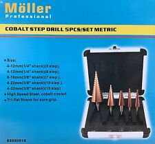 5PCS COBALT STEP DRILL BIT SET METRIC FROM MOLLER PROFESSINAL 15 step for 4-32