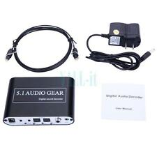 AC3 / DTS 5.1 Channel Audio Gear Digital Sound Decoder to Analog + Optical Cable
