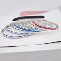 Authentic 100% 925 Sterling Silver Hearts White Enamel CZ Bangle 7 Colour