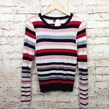 H & M Divided Large NWT Ribbed Striped Sweater Women's Long Sleeve Shirt Blouse