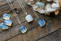 Moonstone Opal Opalite Necklace Polished Jewellery Silver Crystal Pendant
