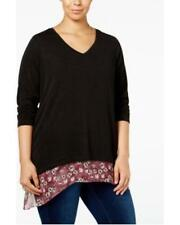 Style&co. Women's Plus Long Sleeve Layered‑Look Top NWT Size 2X MSRP $59 WT2262
