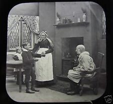 Glass Magic Lantern Slide THE THATCHED COTTAGE 37 C1890 VICTORIAN TALE PEOPLE