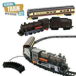 Battery Operated Classic Train Set With 3M Tracks Light Engine Children Xmas