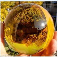 Asian Rare Natural Quartz Yellow Magic Crystal Healing Ball Sphere 100mm+Stand