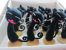 12 Vintage Chenille Black Cats Decorations Christmas Retro xmas Kitsch Wedding
