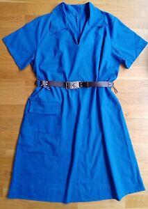 Vintage Guider dress Bukta leather belt Girl Guides Uniform pocket 60s camp blue