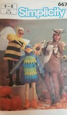 Bird Kangaroo Bumble Bee Costume Halloween Pattern Simplicity 6671 Child 6 - 8