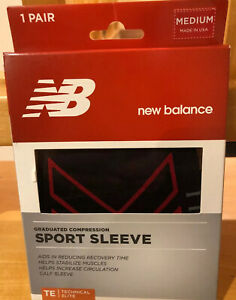 New In Box New Balance Graduated Compression Sport Sleeve 1 Pair Black Medium