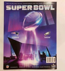 Super Bowl 52 LII 2018 Patriots vs Eagles program in hard protective sleeve