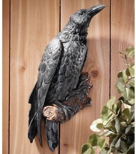 Raven Perch Wall Art Sculpture Statue ~ Realistic Life-Sized Black Crow Figurine