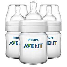 Avent Classic+ Anti-Colic Newborn Baby Feeding Bottles 4oz White - Pack Of 3