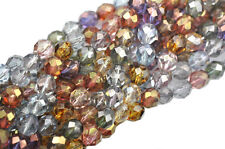 25 Luster Mix Glass Faceted Round Beads 8MM