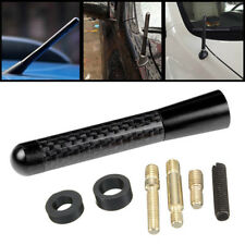"3"" Universal Black Carbon Fiber Car Mast Screws Short Radio Aerial Antenna New"