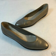 Salvatore Ferragamo Ballet Flat Slip On Comfort Pewter Leather Shoes 6.5 S