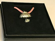 "Parasol Umbrella TG95 English Pewter On a 18"" Pink Cord Necklace"