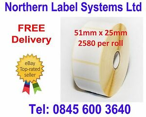 51mm x 25mm Quality Direct Thermal Labels (equivalent to Zebra 880199-025D)