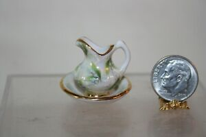 Miniature Dollhouse Rachel Munday England Lily of Valley Wash Bowl & Pitcher