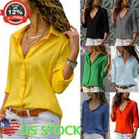 Women Long Sleeve V-neck Lapel Top T-shirt OL Career Ladies Casual Button Blouse