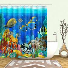 Shower Curtain Blue Ocean Tropical Fish Coral Undersea World Curtains + 12 Hooks