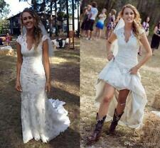Country Wedding Dresses V Neck Cap Sleeves Lace Beach Bridal Dresses Custom Made
