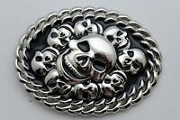 Men Women Silver Metal Belt Buckle Fashion 3D Skeleton Skulls Halloween Black