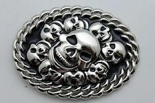 Fashion 3D Skeleton Skulls Halloween Black Men Women Silver Metal Belt Buckle